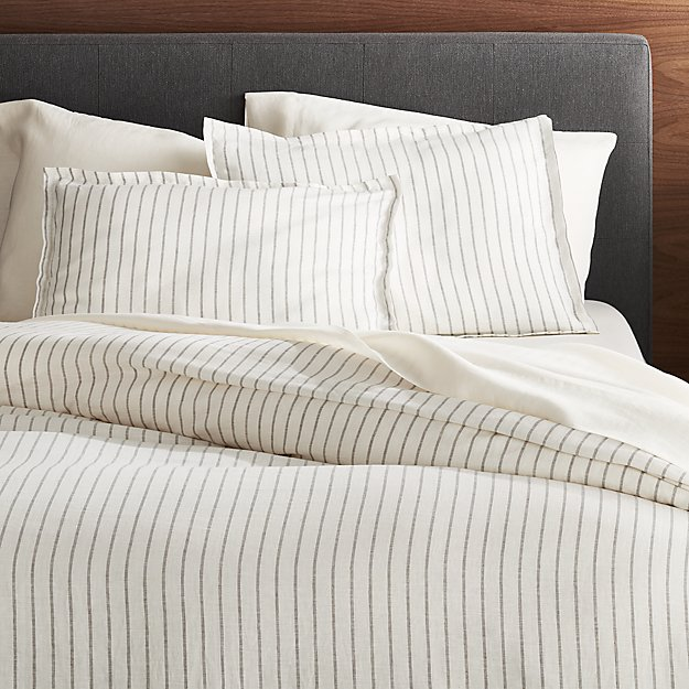 Linen Wide Stripe Warm White Full Queen Duvet Cover