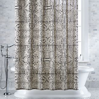 Linley Damask Charcoal Shower Curtain