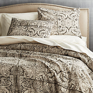 Linley Charcoal Damask Print Duvet Covers and Pillow Shams