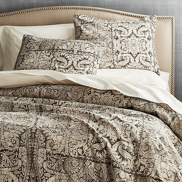 Linley Charcoal Damask Print Duvet Covers And Pillow Shams Crate