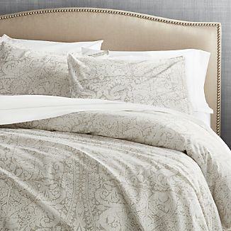 Linley Dove Damask Print Duvet Cover King
