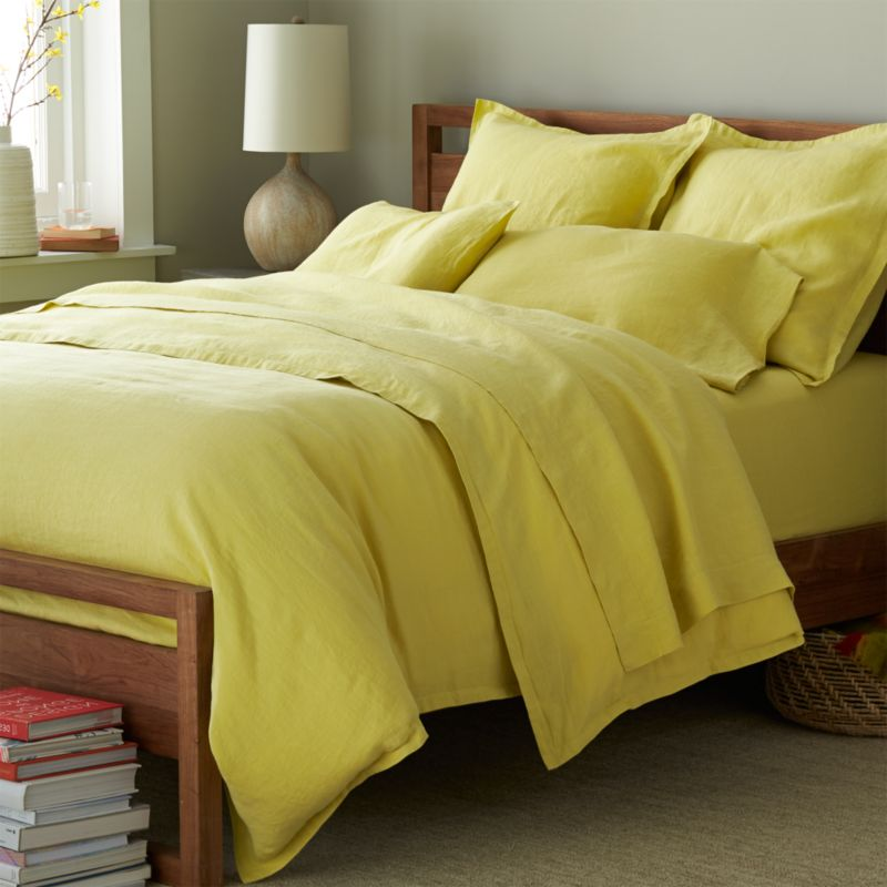 Super soft, washed bedding in solid, gorgeous hues spreads the bed in the comforting touch and relaxed, worn-in style of pure linen. One-inch, self-flange detailing and button closure adds casual tailoring. Duvet insert also available.<br /><br />Due to the nature of linen, you will find slight variations in color, as well as fabric irregularities that come from the spinning or weaving process. The imperfections of the long and short fibers create knots and slubs in the weaving, giving this product a natural and unique look. These irregularities should not be considered imperfections, but rather the beauty of the linen fabric, one of the oldest natural fabrics in textiles.<br /><br /><NEWTAG/><ul><li>100% linen</li><li>Button closure</li><li>Machine wash, tumble dry low; warm iron as needed</li><li>Made in India</li></ul>