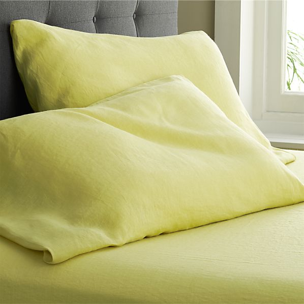 Set of 2 Lino Citron Linen King Pillowcases
