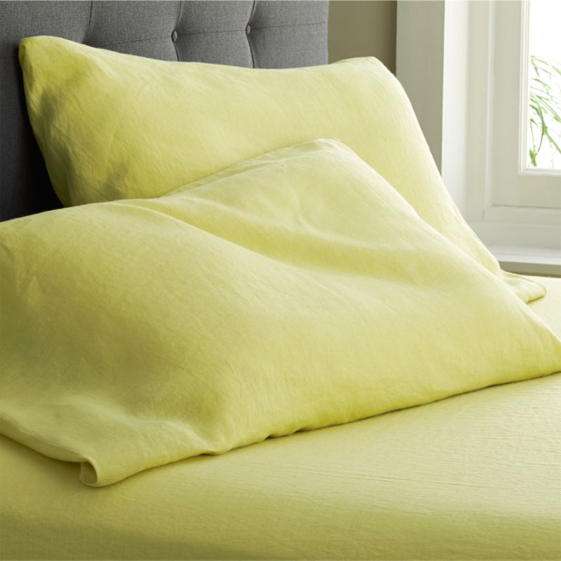 """Super soft, washed bedding in solid, gorgeous hues spreads the bed in the comforting touch and relaxed, worn-in style of pure linen. Cases have 3"""" side pocket closures.<br /><br />Due to the nature of linen, you will find slight variations in color, as well as fabric irregularities that come from the spinning or weaving process. The imperfections of the long and short fibers create knots and slubs in the weaving, giving this product a natural and unique look. These irregularities should not be considered imperfections, but rather the beauty of the linen fabric, one of the oldest natural fabrics in textiles.<br /><br /><NEWTAG/><ul><li>100% linen</li><li>3"""" side pocket closure</li><li>Machine wash, tumble dry low; warm iron as needed</li><li>Made in India</li></ul><br />"""