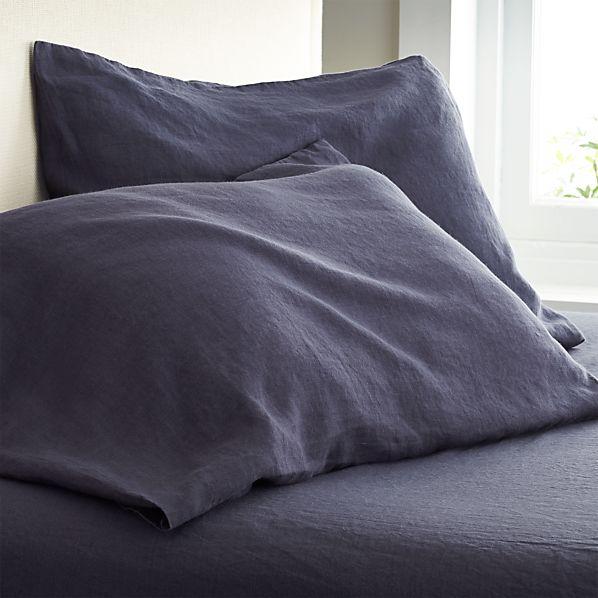 Set of 2 Lino Dark Blue Linen Standard Pillow Cases