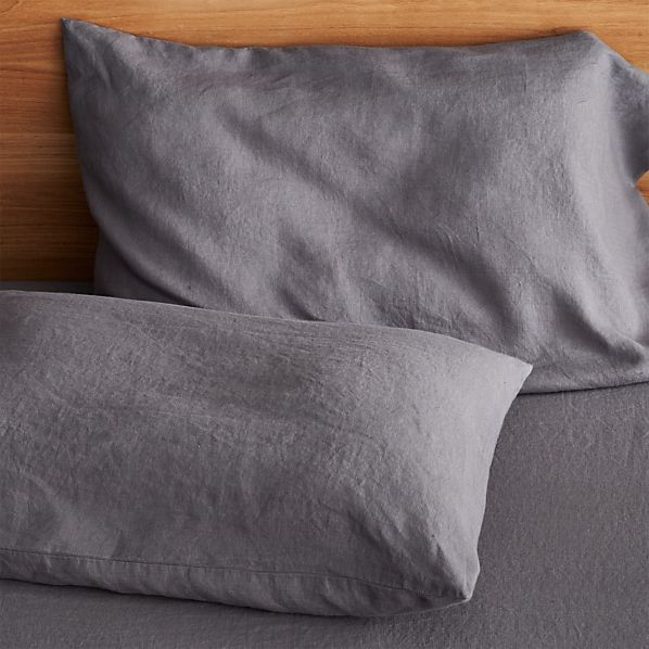 Set of 2 Lino Dark Grey Linen King Pillow Cases