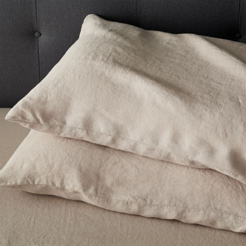 """Super soft, washed bedding in solid, gorgeous hues spreads the bed in the comforting touch and relaxed, worn-in style of pure linen. Cases have 3"""" side pocket closures.<br /><br />Due to the nature of linen, you will find slight variations in color, as well as fabric irregularities that come from the spinning or weaving process. The imperfections of the long and short fibers create knots and slubs in the weaving, giving this product a natural and unique look. These irregularities should not be considered imperfections, but rather the beauty of the linen fabric, one of the oldest natural fabrics in textiles.<br /><br /><NEWTAG/><ul><li>100% linen</li><li>3"""" side pocket closure</li><li>Machine wash, tumble dry low; warm iron as needed</li><li>Made in India</li></ul>"""