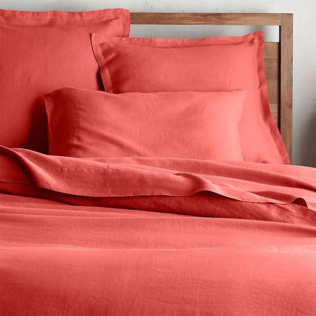 Lino II Coral Linen Duvet Covers and Pillow Shams