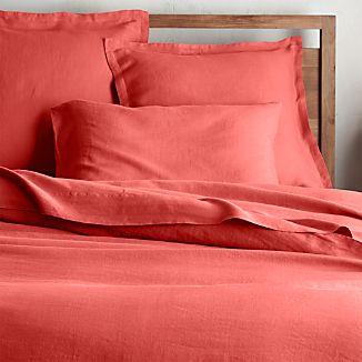 Lino II Coral Linen Full/Queen Duvet Cover