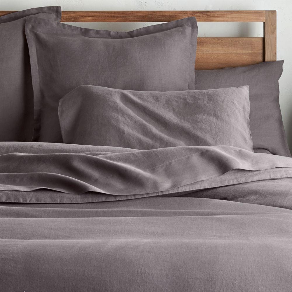 Lino II Dark Grey Linen Full/Queen Duvet Cover - Crate and Barrel