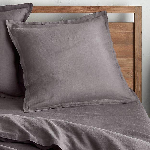 Lino II Dark Grey Linen Euro Sham