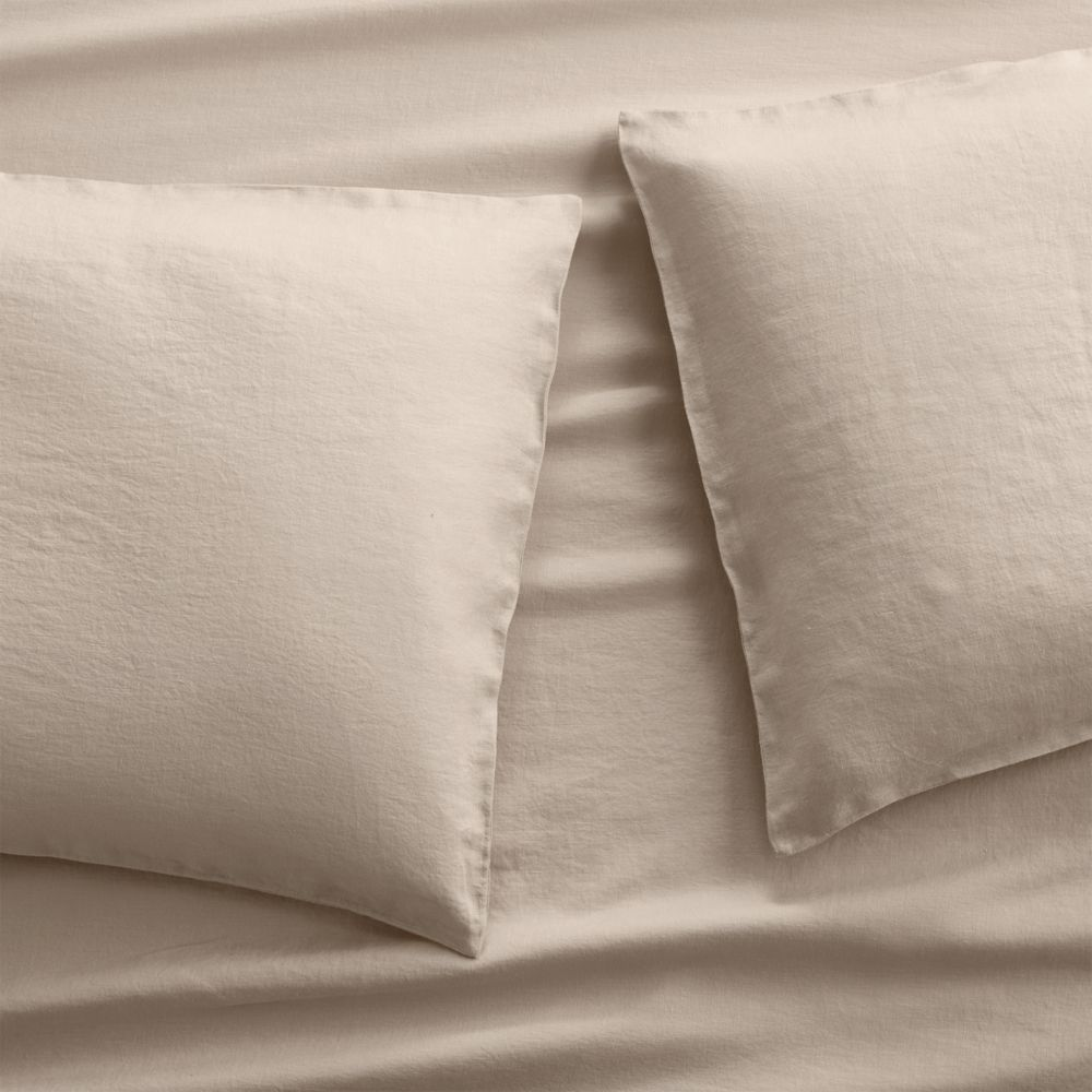 Set of 2 Lino II Flax Linen King Pillow Cases - Crate and Barrel