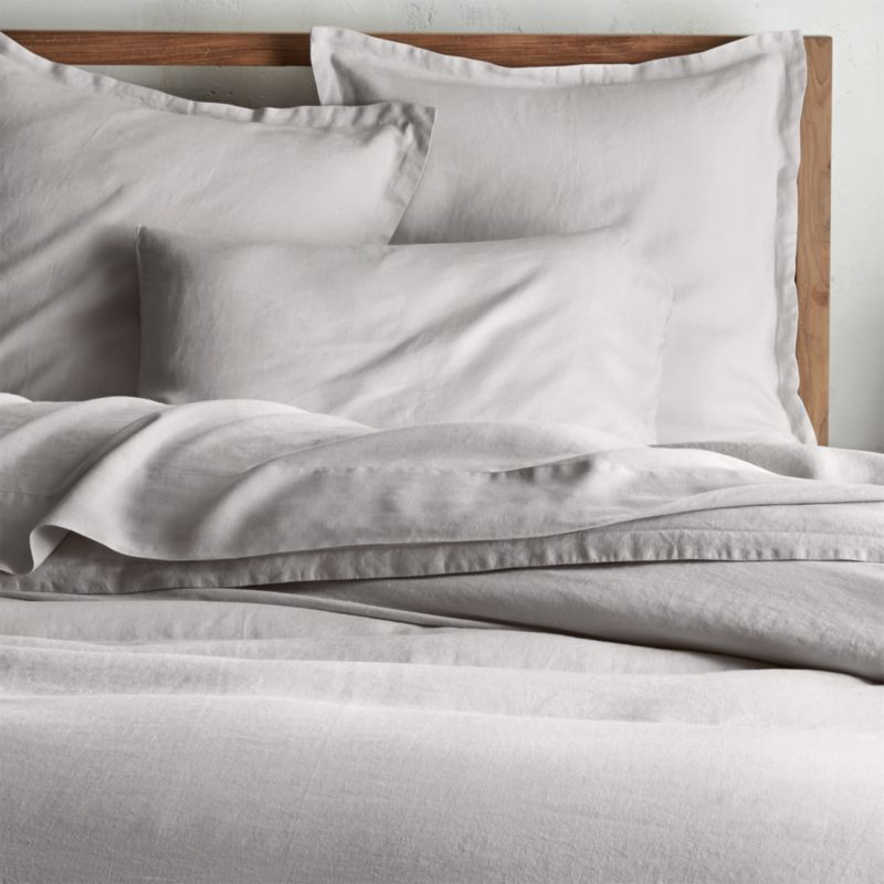 Lino II Light Grey Linen Duvet Covers and Pillow Shams   Crate and Barrel