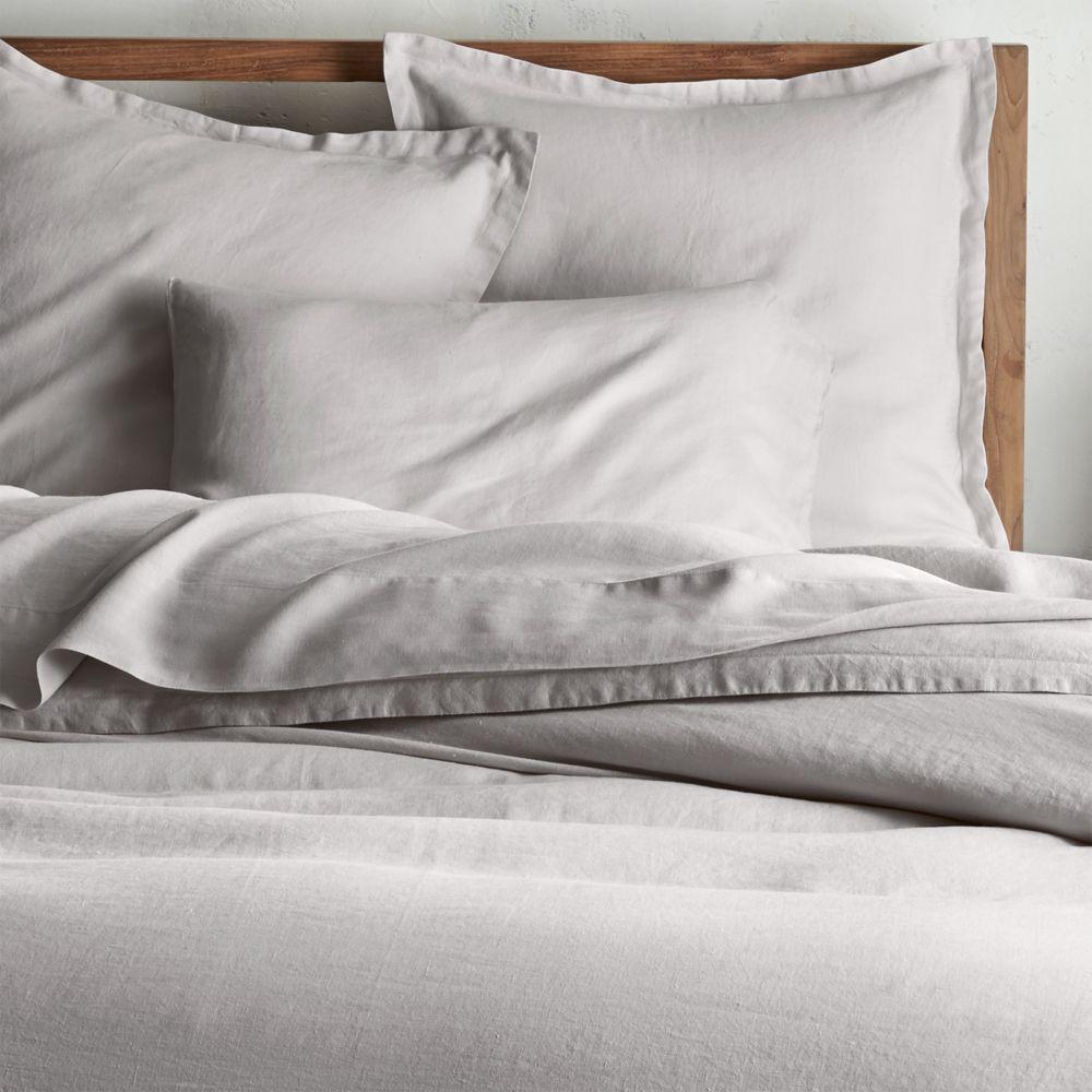 Lino II Light Grey Linen Full/Queen Duvet Cover - Crate and Barrel