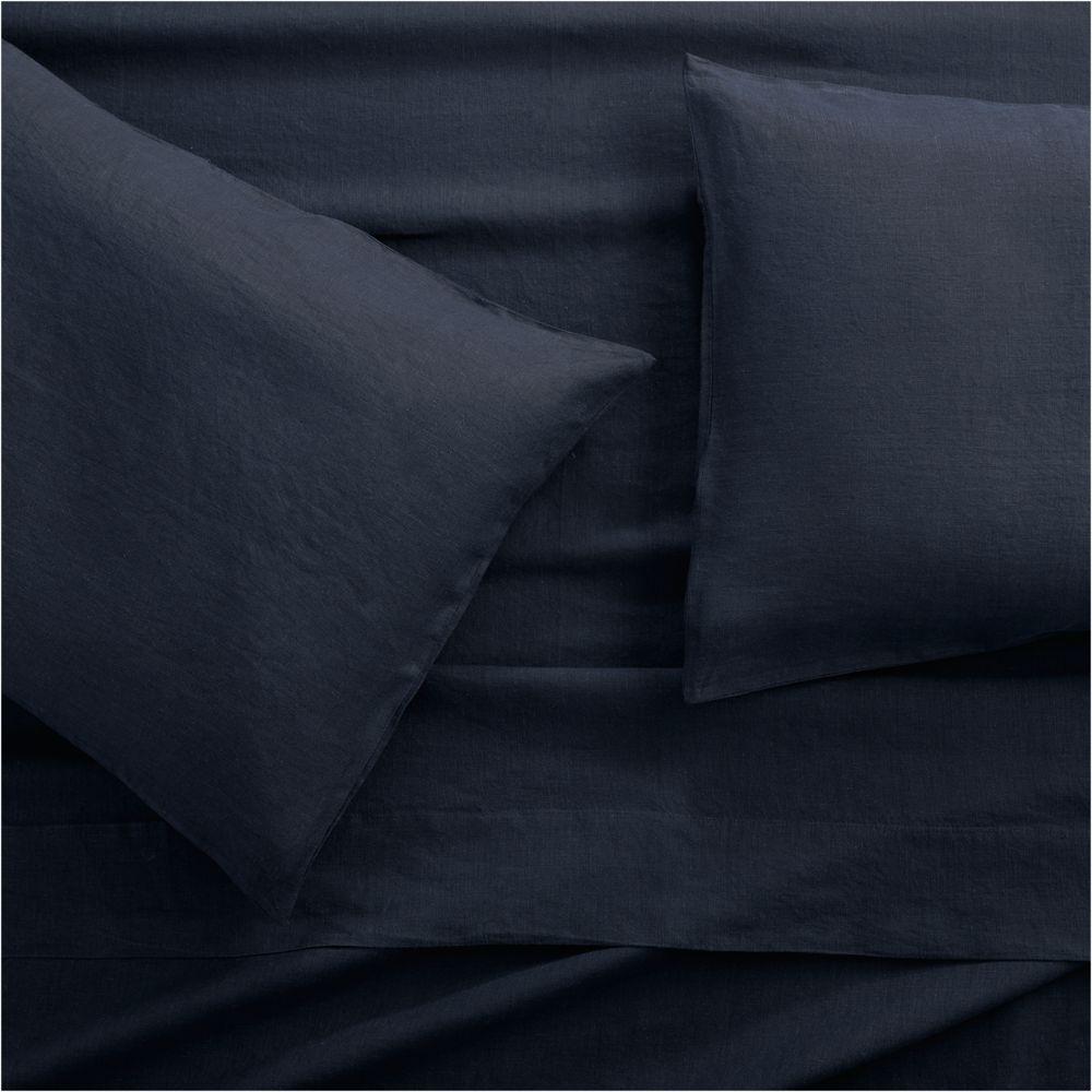 Lino II Midnight Blue Linen Full Sheet Set - Crate and Barrel