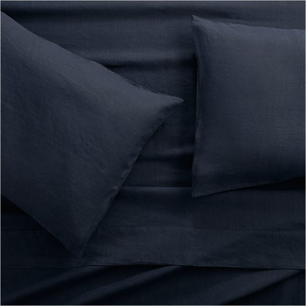 Lino II Midnight Blue Linen Full Sheet Set