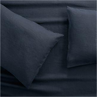 Lino II Midnight Blue Linen King Pillow Cases