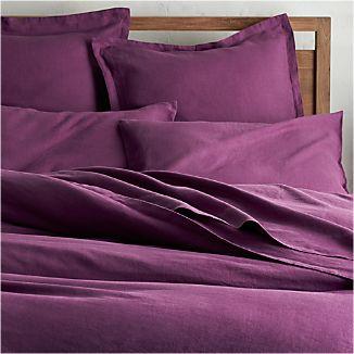 Lino II Purple Linen King Duvet Cover