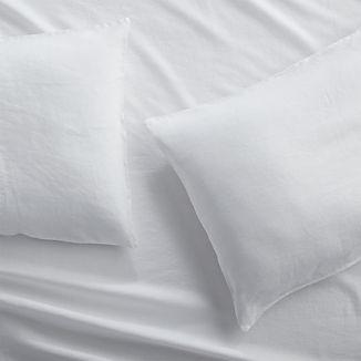 Set of 2 Lino II White Linen Standard Pillow Cases