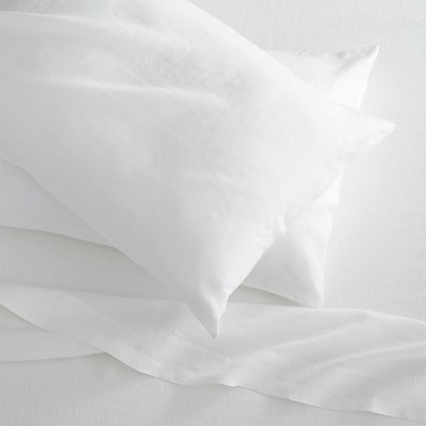 Lino White Linen Queen Fitted Sheet