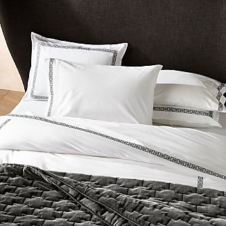 Lior Organic Grey Embroidered Duvet Covers and Pillow Shams