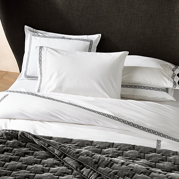 Lior Organic Grey Embroidered Duvet Covers and Pillow Shams - Image 1 of 4