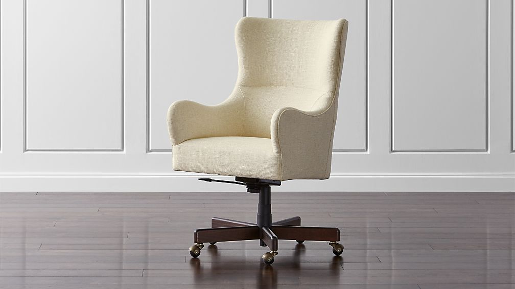 liv upholstered wingback office chair | crate and barrel
