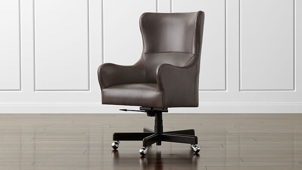 liv leather wingback desk chair reviews crate and barrel
