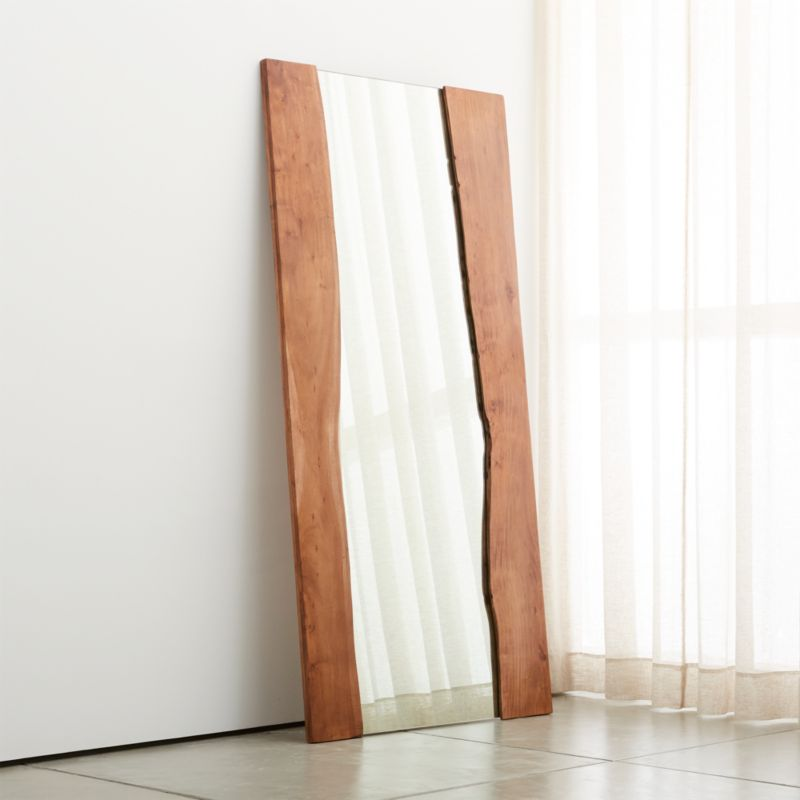Bathroom Mirrors Crate And Barrel blair walnut floor mirror | crate and barrel
