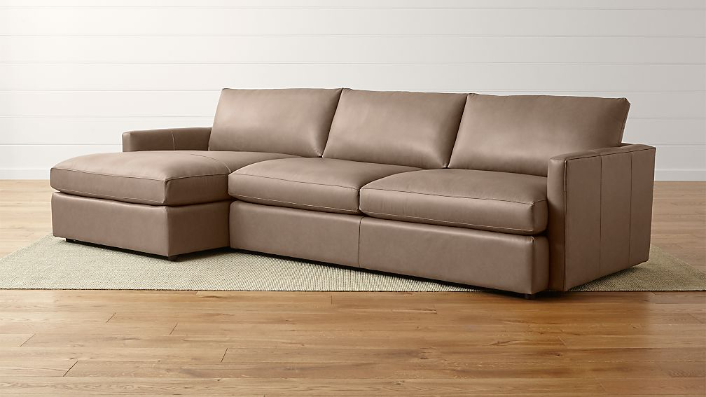 Lounge II Petite Leather 2-Piece Left Arm Chaise Sectional Sofa