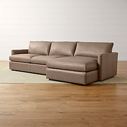Lounge II Petite Leather 2-Piece Right Arm Chaise Sectional Sofa