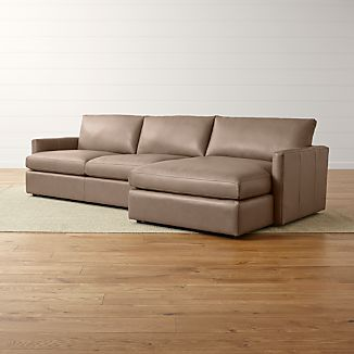 Lounge II Leather 2-Piece Right Arm Chaise Sectional Sofa