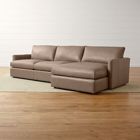Lounge II Top Grain Leather Sectional Sofa + Reviews | Crate and Barrel