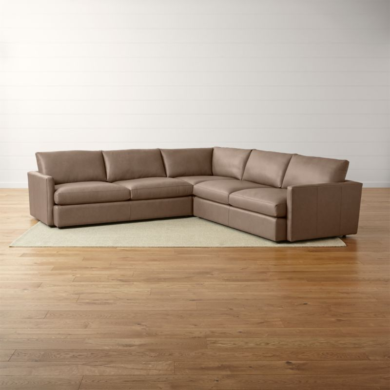 Lounge II Three Piece Leather Sectional Sofa Reviews Crate and