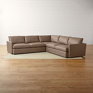 Lounge II Petite Leather 3-Piece Sectional Sofa