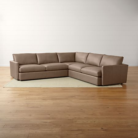 Lounge II Three Piece Leather Sectional Sofa | Crate and Barrel