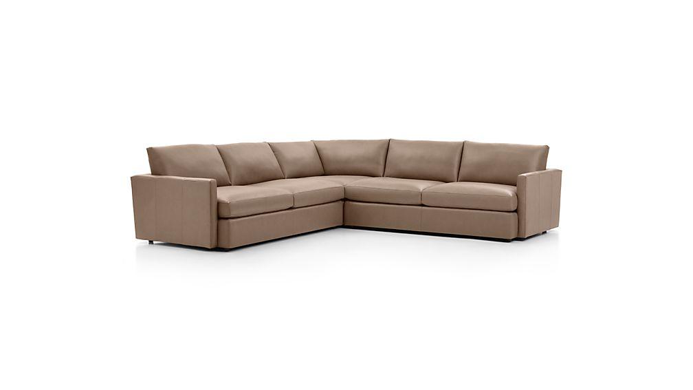 Lounge II Petite Leather 3-Piece Sectional Sofa