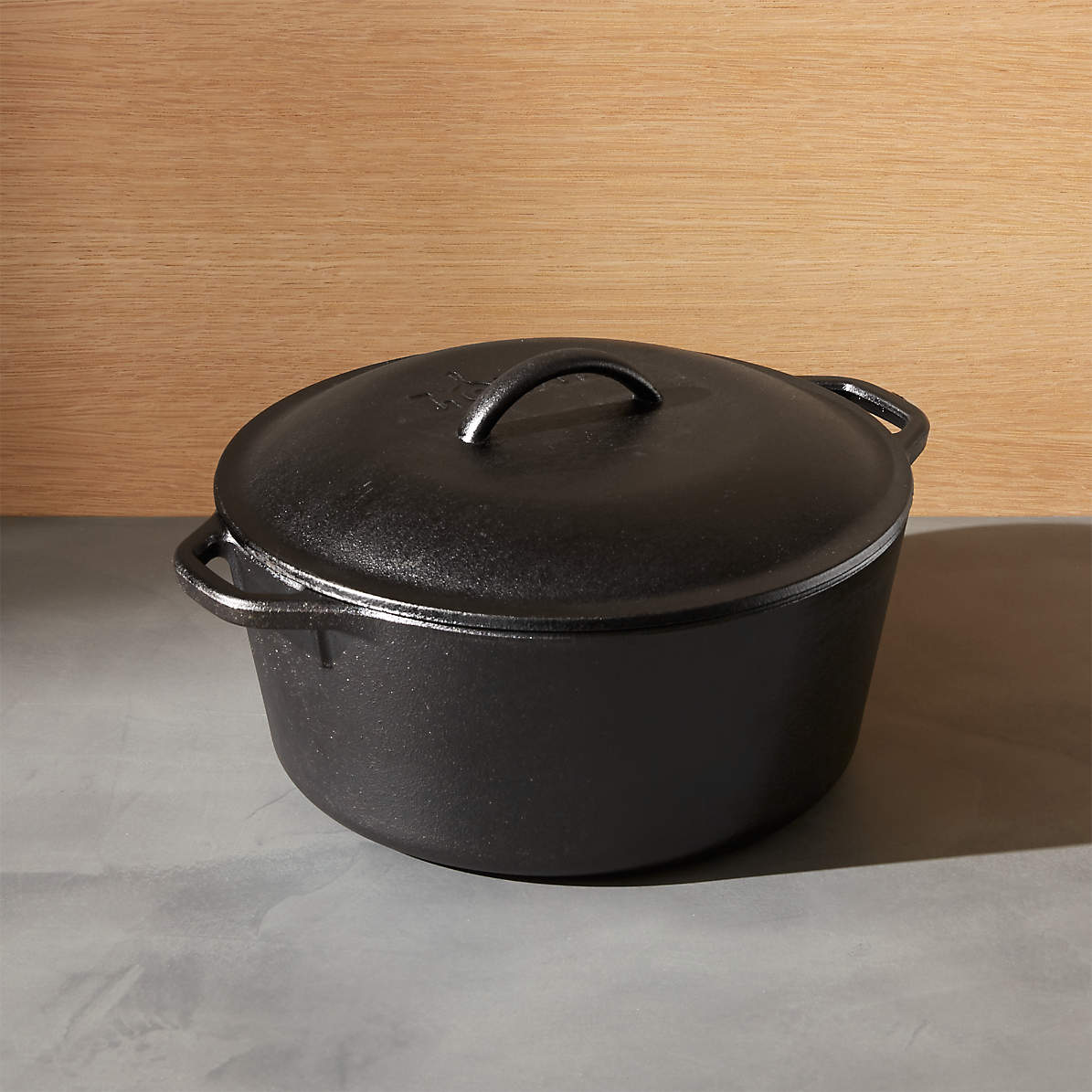 Lodge 5 Qt Cast Iron dutch oven Pré-assaisonné pot avec couvercle et double boucle...