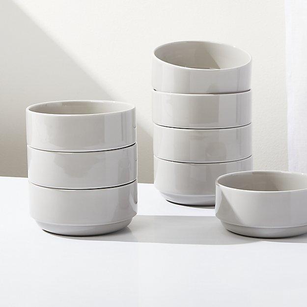 Logan Grey Stacking Bowls, Set of 8 - Image 1 of 4