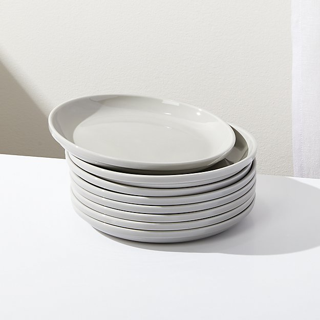 Logan Grey Stacking Salad Plates, Set of 8 - Image 1 of 4