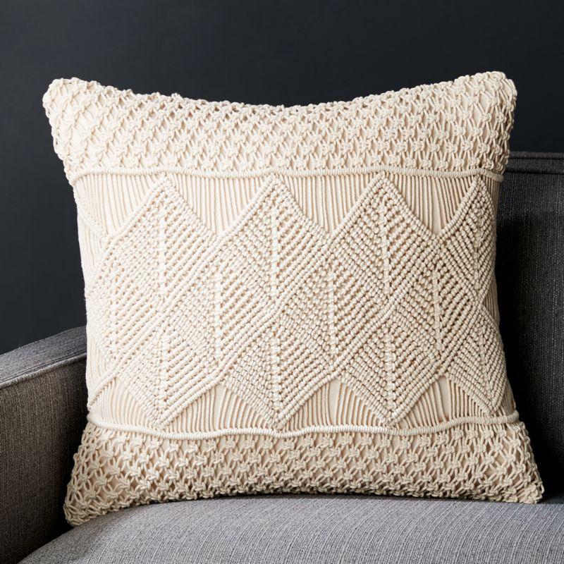decorator throw pillows. Lola 20  Macram Pillow Throw Pillows Decorative and Accent Crate Barrel