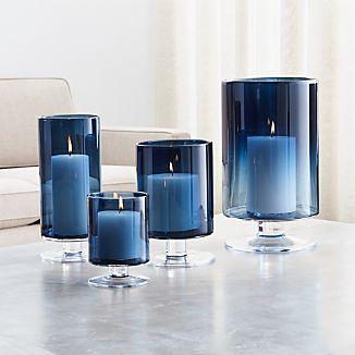 London Blue Hurricane Candle Holders