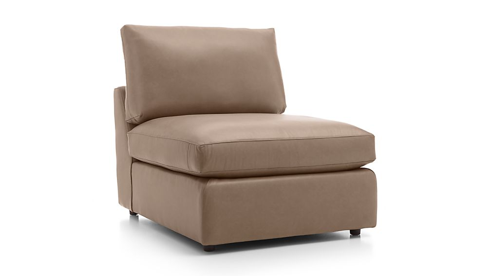 Lounge ii leather 32 armless chair lavista smoke crate for Crate and barrel armless chair