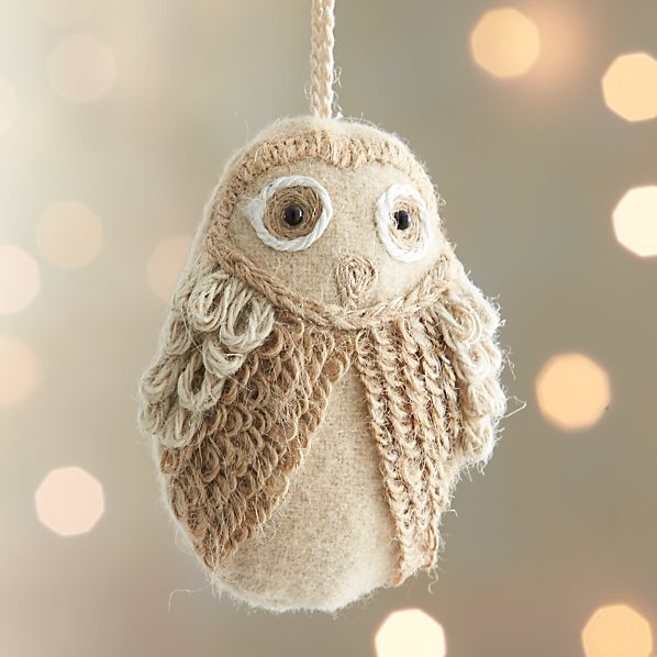 Ivory Loopy Owl Ornament