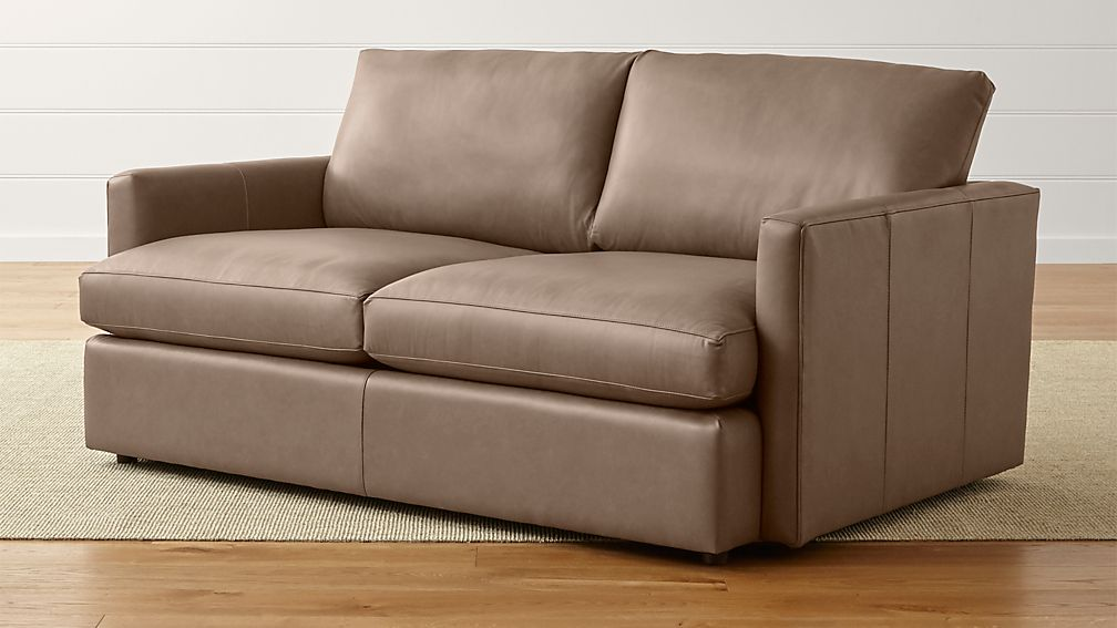 Lounge II Petite Leather Apartment Sofa | Crate and Barrel