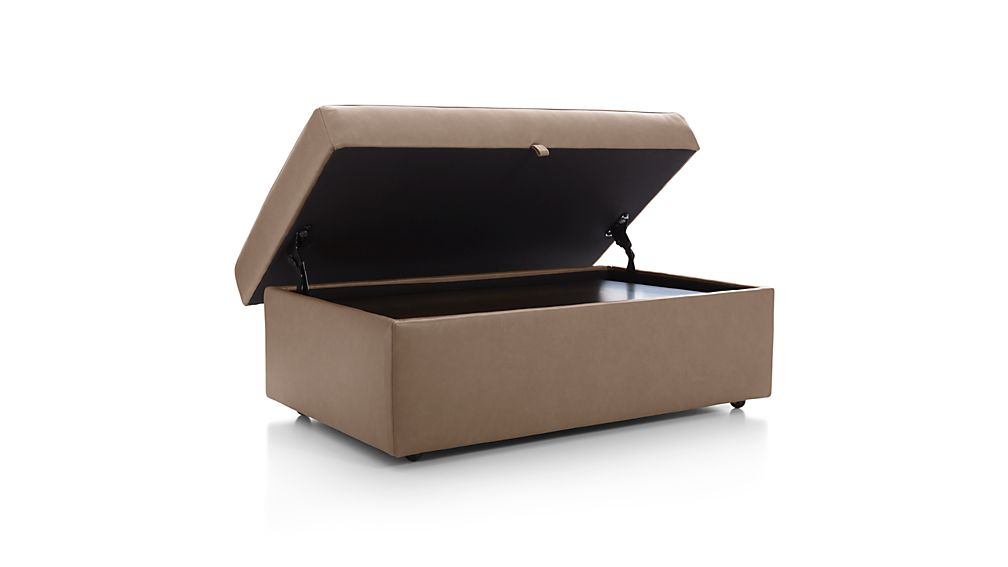 Lounge II Petite Leather Storage Ottoman with Tray