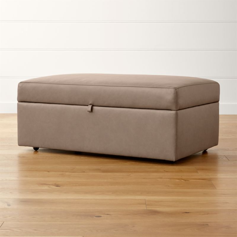 Lounge II Leather Storage Ottoman with Tray Reviews Crate and Barrel