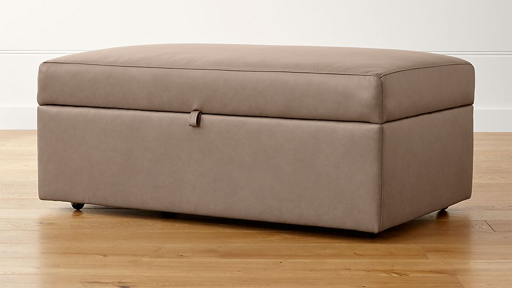 Lounge II Petite Leather Storage Ottoman with Tray - Image 1 of 5