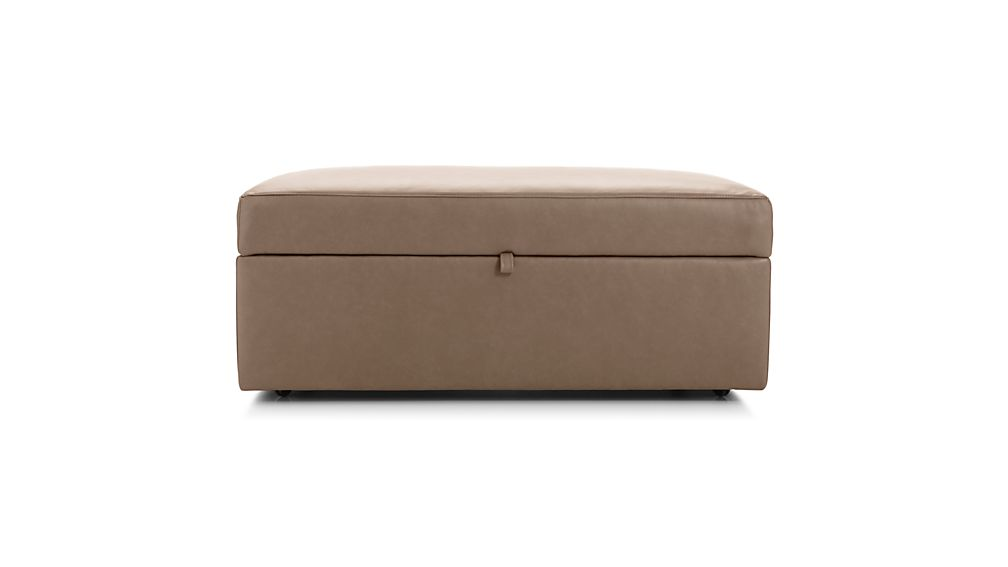 Lounge II Leather Storage Ottoman with Tray
