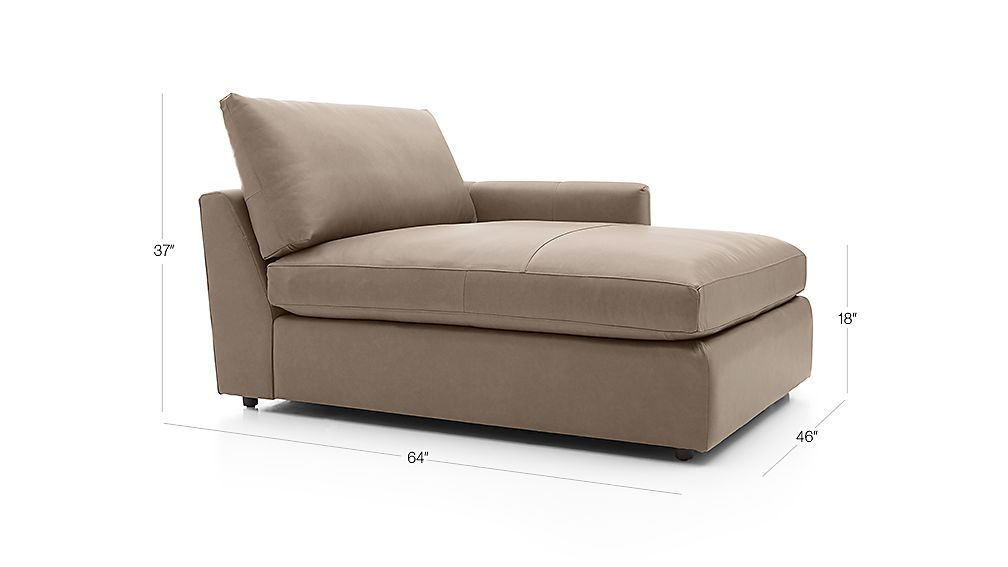 TAP TO ZOOM Image with dimension for Lounge II Leather Right Arm Chaise Lounge